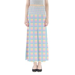 Grid Squares Texture Pattern Maxi Skirts