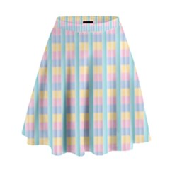 Grid Squares Texture Pattern High Waist Skirt