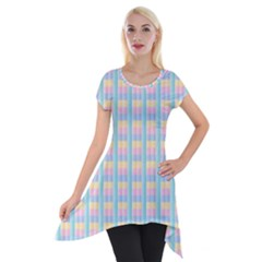 Grid Squares Texture Pattern Short Sleeve Side Drop Tunic