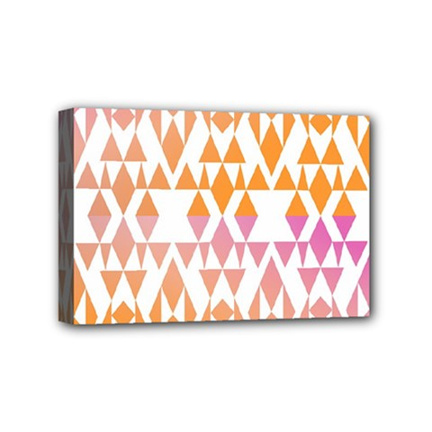 Geometric Abstract Orange Purple Pattern Mini Canvas 6  x 4