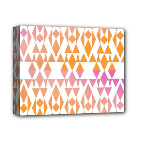Geometric Abstract Orange Purple Pattern Deluxe Canvas 14  x 11