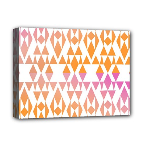 Geometric Abstract Orange Purple Pattern Deluxe Canvas 16  X 12