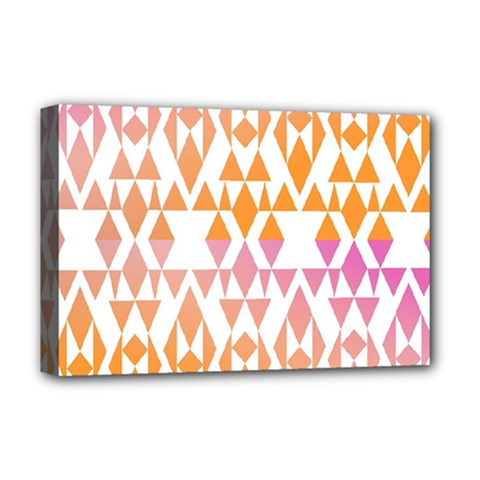 Geometric Abstract Orange Purple Pattern Deluxe Canvas 18  x 12