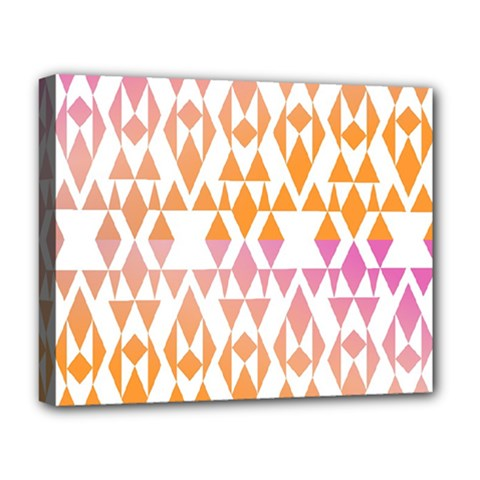 Geometric Abstract Orange Purple Pattern Deluxe Canvas 20  x 16