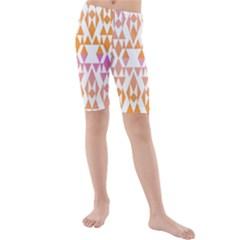 Geometric Abstract Orange Purple Pattern Kids  Mid Length Swim Shorts