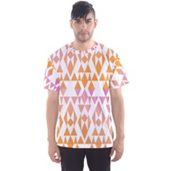 Geometric Abstract Orange Purple Pattern Men s Sport Mesh Tee