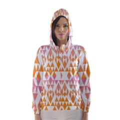 Geometric Abstract Orange Purple Pattern Hooded Wind Breaker (Women)