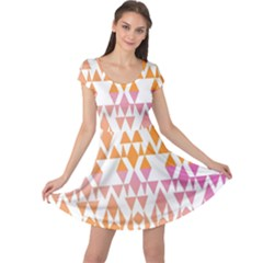 Geometric Abstract Orange Purple Pattern Cap Sleeve Dresses