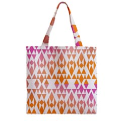 Geometric Abstract Orange Purple Pattern Zipper Grocery Tote Bag