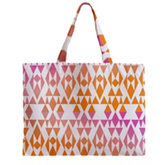 Geometric Abstract Orange Purple Pattern Zipper Mini Tote Bag