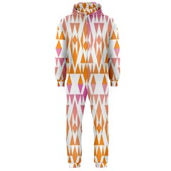 Geometric Abstract Orange Purple Pattern Hooded Jumpsuit (men)