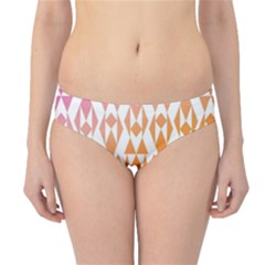 Geometric Abstract Orange Purple Pattern Hipster Bikini Bottoms