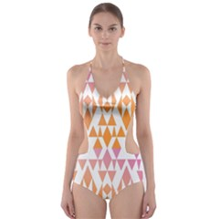 Geometric Abstract Orange Purple Pattern Cut-Out One Piece Swimsuit