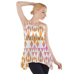 Geometric Abstract Orange Purple Pattern Side Drop Tank Tunic