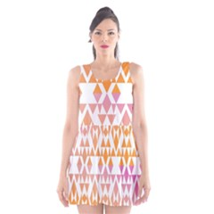 Geometric Abstract Orange Purple Pattern Scoop Neck Skater Dress