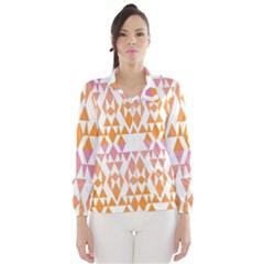 Geometric Abstract Orange Purple Pattern Wind Breaker (women)