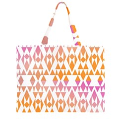 Geometric Abstract Orange Purple Pattern Large Tote Bag