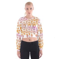 Geometric Abstract Orange Purple Pattern Women s Cropped Sweatshirt