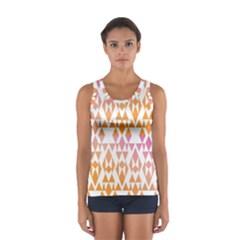Geometric Abstract Orange Purple Pattern Women s Sport Tank Top