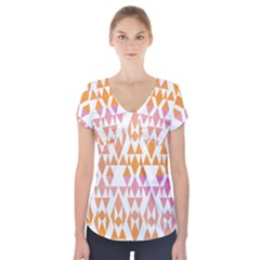 Geometric Abstract Orange Purple Pattern Short Sleeve Front Detail Top