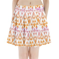Geometric Abstract Orange Purple Pattern Pleated Mini Skirt