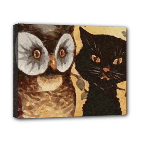 Owl And Black Cat Canvas 10  x 8