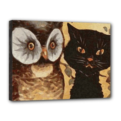 Owl And Black Cat Canvas 16  x 12