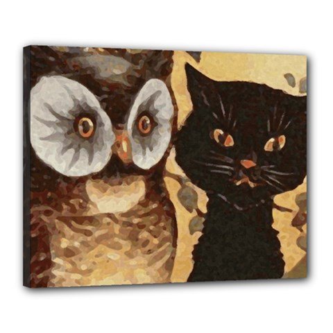 Owl And Black Cat Canvas 20  x 16