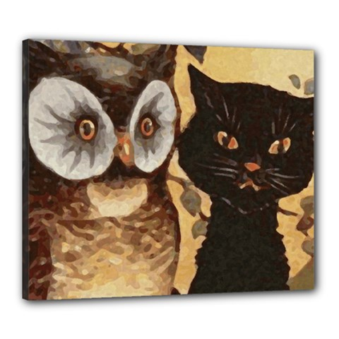 Owl And Black Cat Canvas 24  x 20