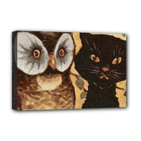 Owl And Black Cat Deluxe Canvas 18  x 12