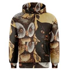Owl And Black Cat Men s Zipper Hoodie