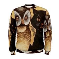 Owl And Black Cat Men s Sweatshirt
