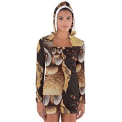 Owl And Black Cat Women s Long Sleeve Hooded T-shirt