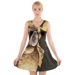 Owl And Black Cat V-Neck Sleeveless Skater Dress