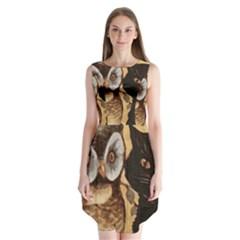 Owl And Black Cat Sleeveless Chiffon Dress