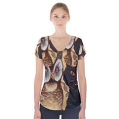 Owl And Black Cat Short Sleeve Front Detail Top
