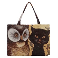 Owl And Black Cat Medium Zipper Tote Bag