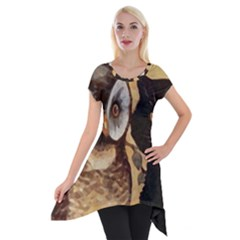 Owl And Black Cat Short Sleeve Side Drop Tunic