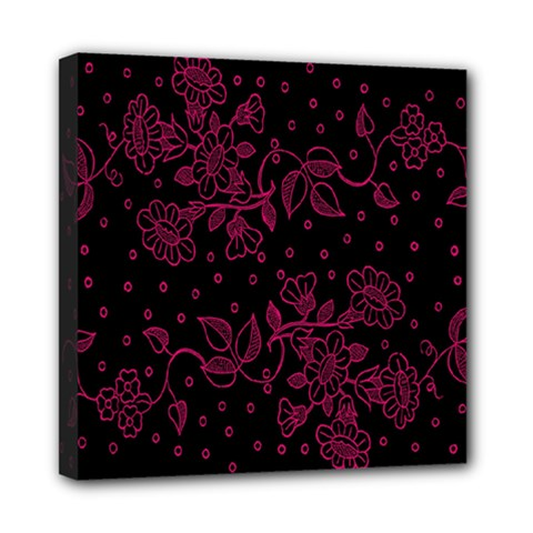 Pink Floral Pattern Background Wallpaper Mini Canvas 8  x 8