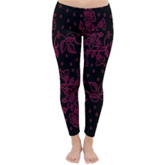 Pink Floral Pattern Background Wallpaper Classic Winter Leggings