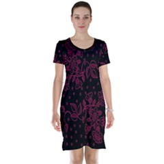 Pink Floral Pattern Background Wallpaper Short Sleeve Nightdress