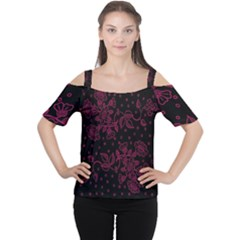 Pink Floral Pattern Background Wallpaper Women s Cutout Shoulder Tee