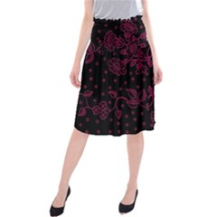 Pink Floral Pattern Background Wallpaper Midi Beach Skirt