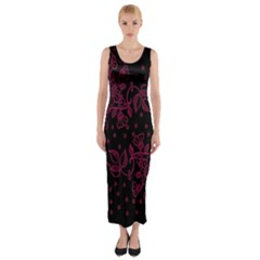Pink Floral Pattern Background Wallpaper Fitted Maxi Dress