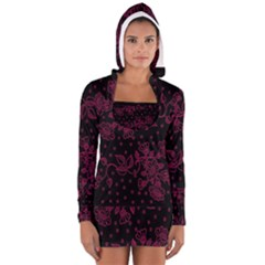 Pink Floral Pattern Background Wallpaper Women s Long Sleeve Hooded T Shirt