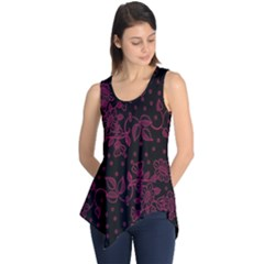Pink Floral Pattern Background Wallpaper Sleeveless Tunic