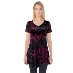 Pink Floral Pattern Background Wallpaper Short Sleeve Tunic