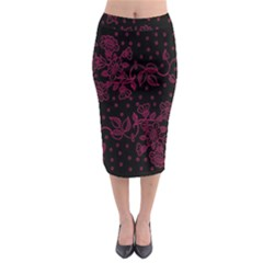 Pink Floral Pattern Background Wallpaper Midi Pencil Skirt