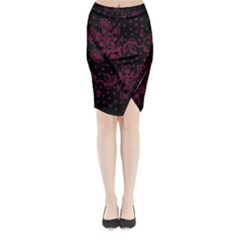 Pink Floral Pattern Background Wallpaper Midi Wrap Pencil Skirt