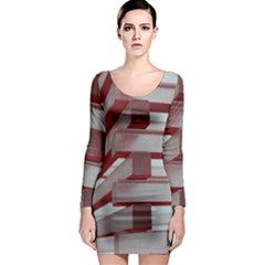 Red Sunglasses Art Abstract Long Sleeve Bodycon Dress